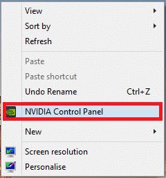 Nhấp chuột phải vào bất kỳ không gian trống nào trên màn hình và nhấp vào Bảng điều khiển NVIDIA như được mô tả bên dưới.