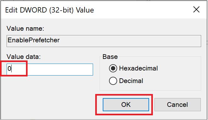 Thay đổi dữ liệu Giá trị thành 0 và bấm OK