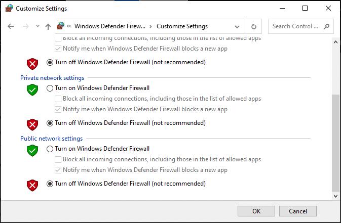 Bây giờ, hãy đánh dấu vào các hộp;  tắt Tường lửa của Bộ bảo vệ Windows (không được khuyến nghị) cho tất cả các loại cài đặt mạng