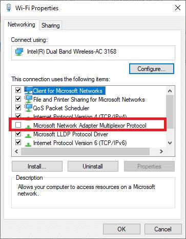 Bây giờ, hãy đảm bảo rằng Giao thức Bộ ghép kênh Bộ điều hợp Mạng của Microsoft được bỏ chọn.  Cách khắc phục Lỗi Hamachi Tunnel trên Windows 10