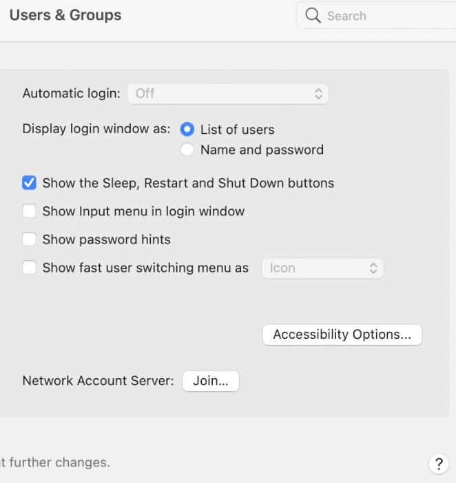 Tắt tùy chọn có nội dung Hiển thị menu chuyển đổi người dùng nhanh dưới dạng |  Khắc phục khả năng tương thích với macOS Big Sur