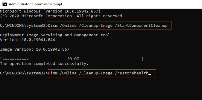 Gõ lệnh khác Dism / Online / Cleanup-Image / restorehealth và đợi nó hoàn tất