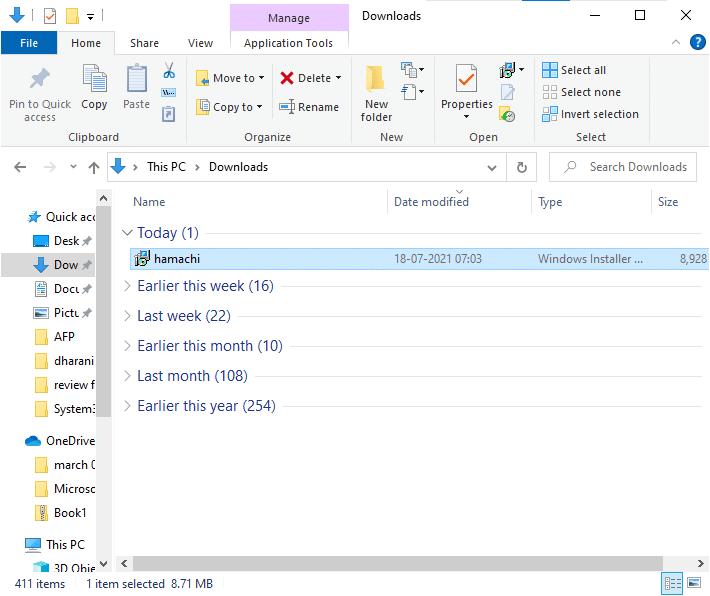 Bây giờ, truy cập Tải xuống trên máy tính và nhấp đúp vào Hamachi.