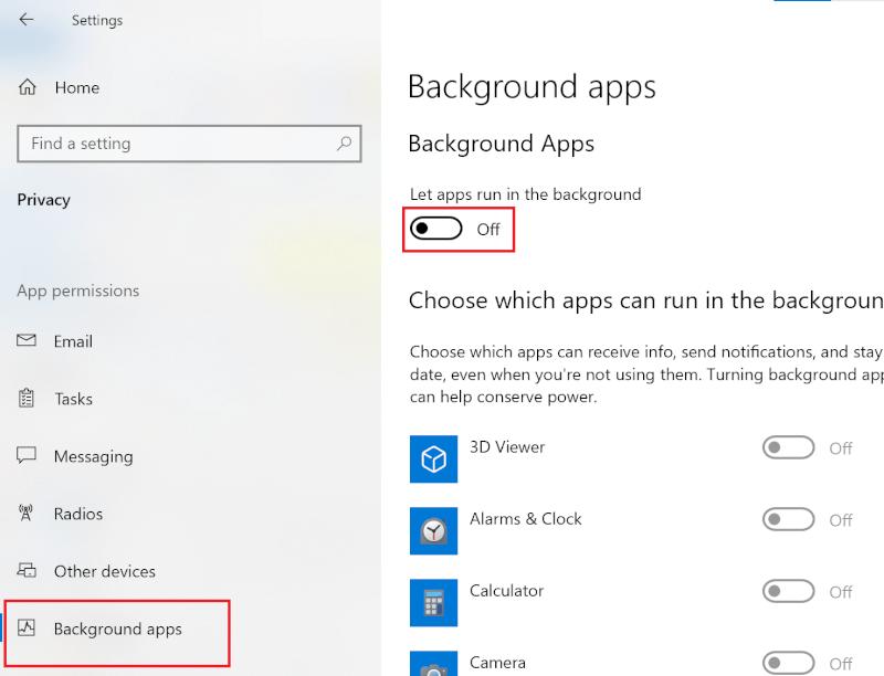 Tắt nút gạt bên cạnh Cho phép ứng dụng chạy trong nền    18 cách tối ưu hóa Windows 10 để chơi game
