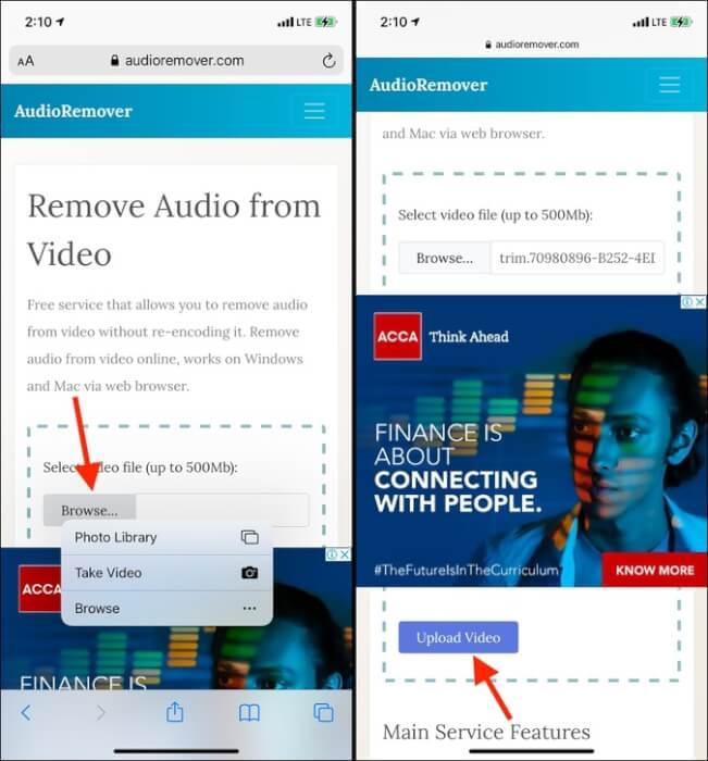 Tải lên Duyệt video trong AudioRemover trên iPhone
