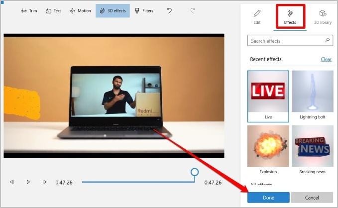Chèn hiệu ứng 3D vào video