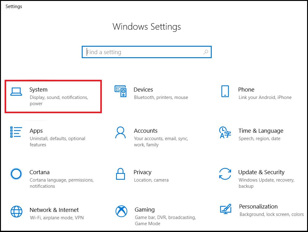 Trong menu cài đặt, chọn Hệ thống.  Làm thế nào để Tối ưu hóa Windows 10 cho Trò chơi và Hiệu suất?