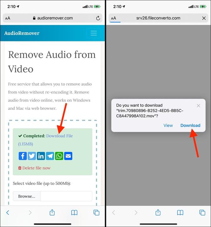 Tải xuống Tải xuống Tệp trong AudioRemover trên iPhone
