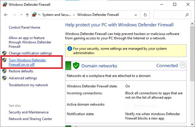 Bây giờ, hãy chọn tùy chọn Bật hoặc tắt Tường lửa của Bộ bảo vệ Windows ở menu bên trái.