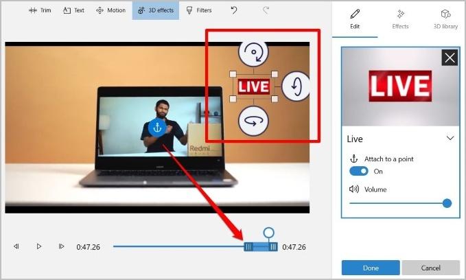 Chỉnh sửa hiệu ứng 3D trong video
