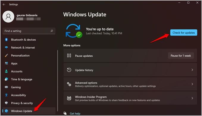 kiểm tra các bản cập nhật hệ điều hành windows trong windows 11