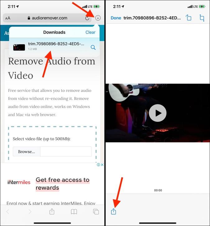 Nhấn vào biểu tượng chia sẻ tệp video để lưu video có âm thanh trên iPhone