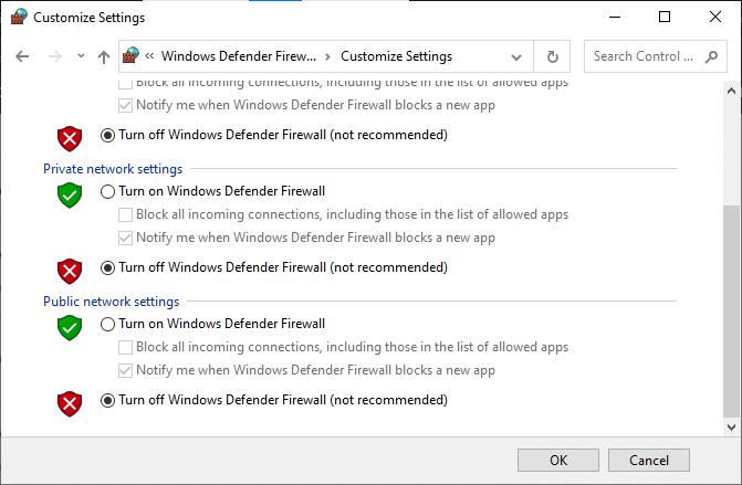 Bây giờ, hãy đánh dấu vào các hộp;  tắt Tường lửa của Bộ bảo vệ Windows (không được khuyến nghị)