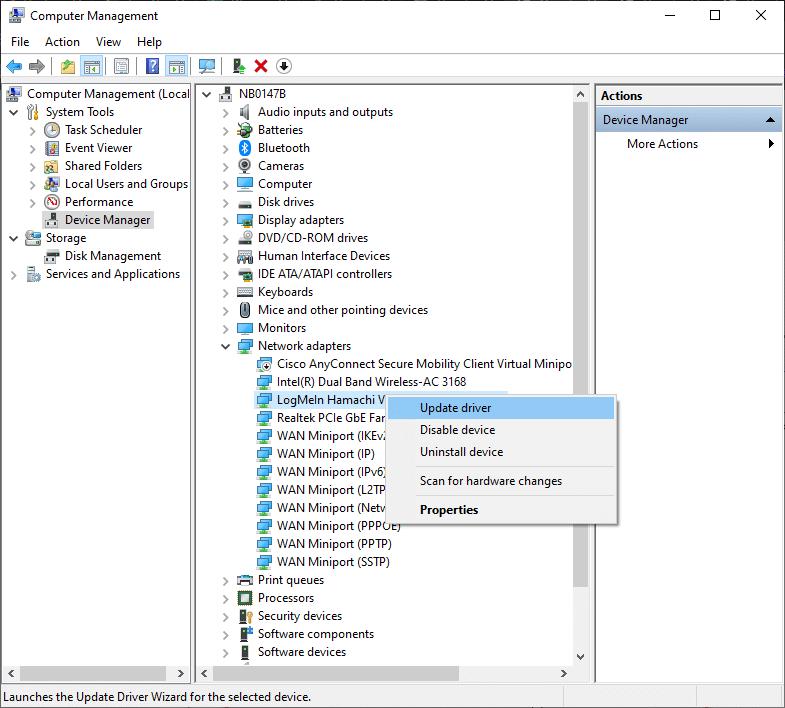 Bây giờ, nhấp chuột phải vào LogMeIn Hamachi Virtual Ethernet Adapter và nhấp vào Cập nhật trình điều khiển.  Cách khắc phục Lỗi Hamachi Tunnel trên Windows 10