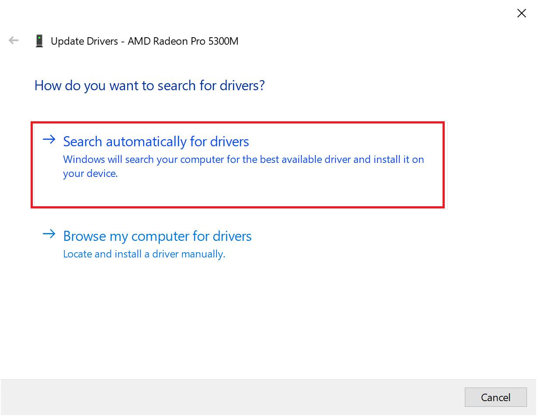 Nhấp vào Tự động tìm kiếm phần mềm trình điều khiển được cập nhật