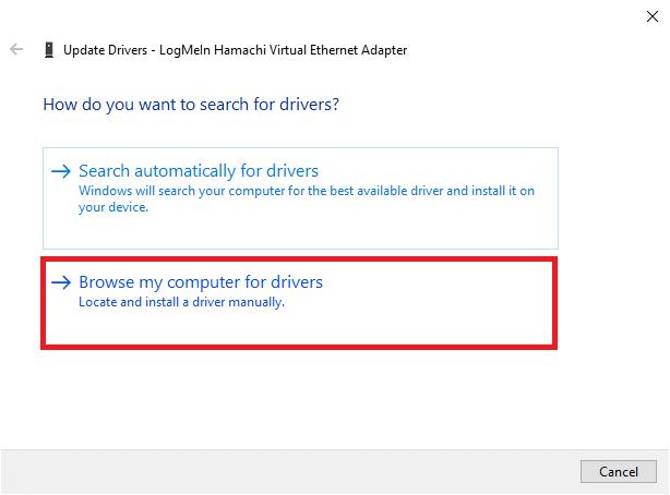 Bây giờ, nhấp vào Duyệt máy tính của tôi để tìm trình điều khiển để định vị và cài đặt trình điều khiển theo cách thủ công.  Cách khắc phục Lỗi Hamachi Tunnel trên Windows 10