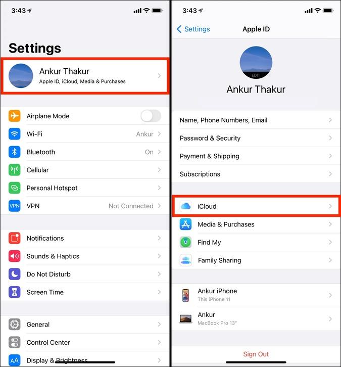 iCloud Tên trong ứng dụng Cài đặt trên iPhone