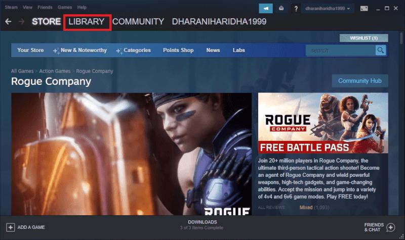 Khởi chạy Steam và nhấp vào LIBRARY |  Cách mở trò chơi Steam ở chế độ cửa sổ