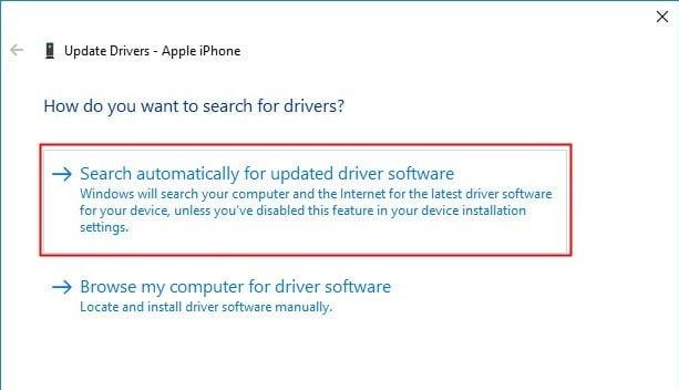 Chọn Tìm kiếm thủ công cho các ứng dụng trình điều khiển mới.  iPhone không hiển thị trong máy tính của tôi