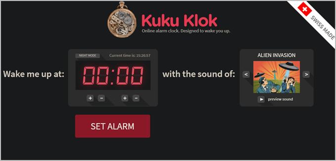đồng hồ báo thức kuku trên trình duyệt web