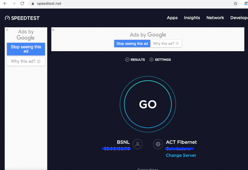 Chạy kiểm tra tốc độ internet nhanh trên speedtest.net để kiểm tra độ bền kết nối