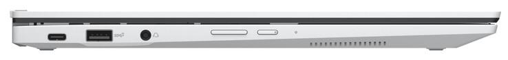 Mặt trái: USB 3.2 Gen 2 (Type-C; Power Delivery, DisplayPort), USB 3.2 Gen 2 (Type-A), âm thanh kết hợp, nút chỉnh âm lượng, nút nguồn