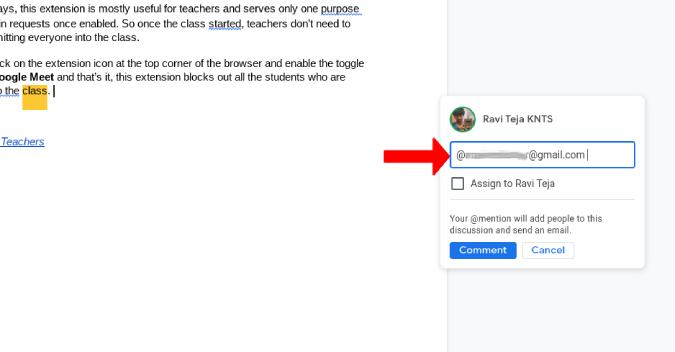 Thêm id email để giao nhiệm vụ trên Google Tài liệu