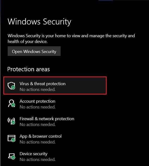 Nhấp vào 'Hành động của Virus và Mối đe dọa' Sửa Command Prompt Xuất hiện rồi Biến mất trên Windows 10