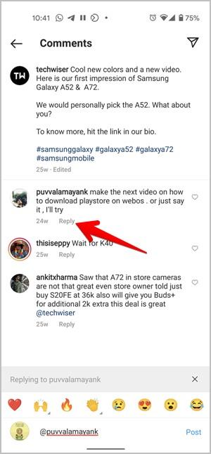 Instagram Trả lời bình luận