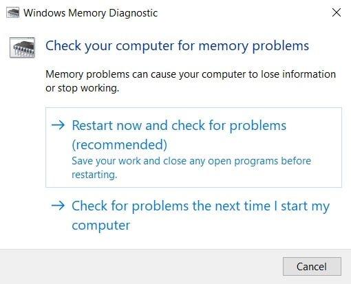 Bộ nhớ cửa sổ chẩn đoán.  Cách sửa mã lỗi Destiny 2 Broccoli trên Windows 10