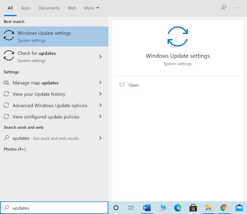 Nhập Cập nhật vào tìm kiếm Windows và khởi chạy cài đặt Windows Update từ kết quả tìm kiếm.