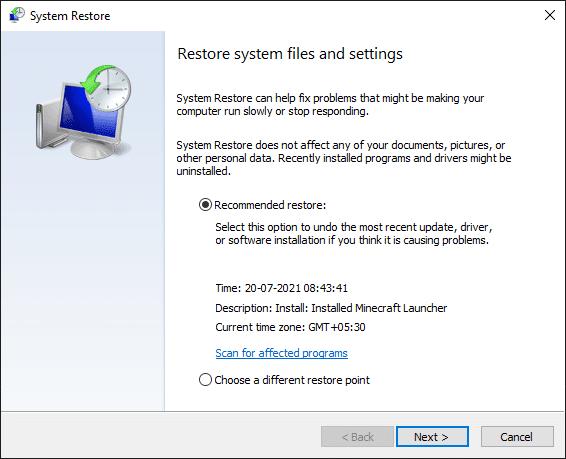 Cửa sổ Khôi phục Hệ thống nhấp vào Tiếp theo.  Sửa lỗi Không có âm thanh trên trò chơi Steam
