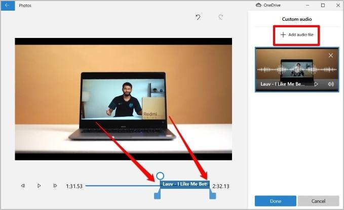 Thêm tệp âm thanh trong Microsoft Video Editor