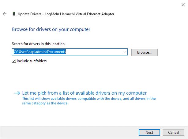 Bây giờ, bấm vào nút Browser để chọn thư mục cài đặt Hamachi.  Khi bạn đã lựa chọn, hãy nhấp vào nút Tiếp theo.