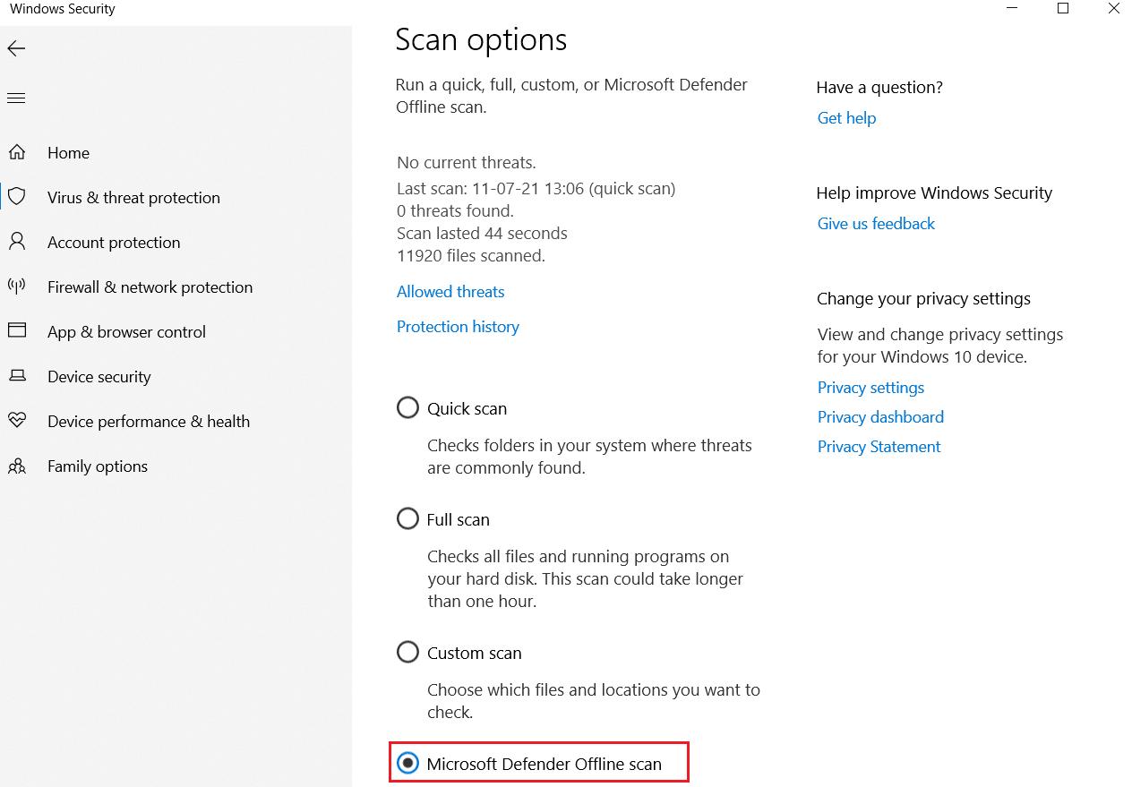 Bộ bảo vệ Windows Ngoại tuyến Quét trong Bảo vệ chống vi-rút và mối đe dọa Tùy chọn quét Sửa Command Prompt Xuất hiện rồi Biến mất trên Windows 10