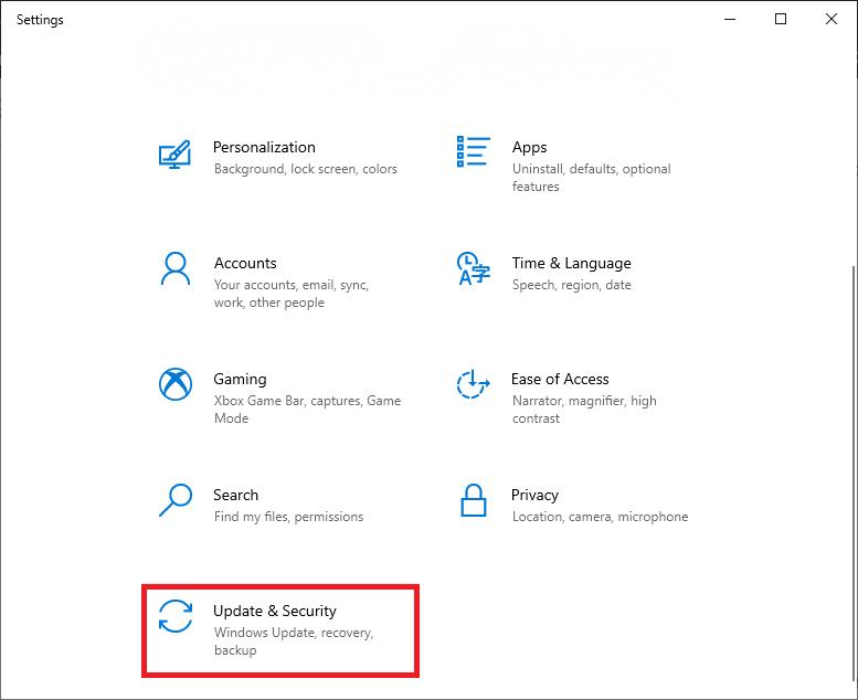 Bây giờ, cuộn xuống danh sách và chọn Cập nhật & Bảo mật.  Sửa lỗi Không có âm thanh trên trò chơi Steam