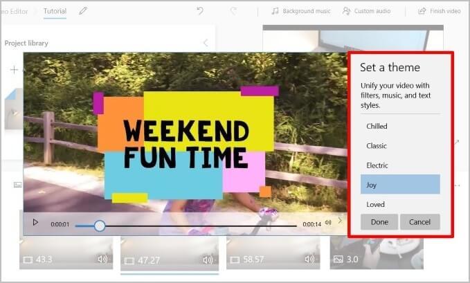 Chủ đề trong Microsoft Video Editor
