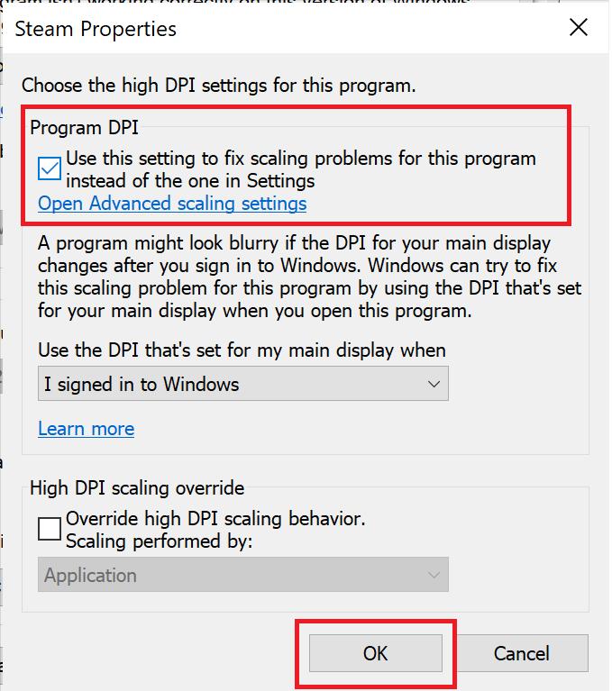 Thuộc tính trò chơi.  Chọn Cài đặt DPI của Chương trình.  Cách sửa mã lỗi Destiny 2 Broccoli trên Windows 10