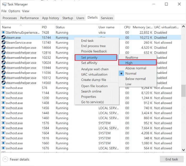 Đặt trò chơi Destiny 2 là ưu tiên cao.  Cách sửa mã lỗi Destiny 2 Broccoli trên Windows 10