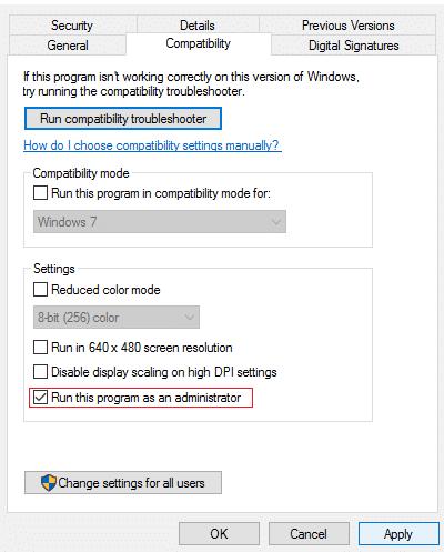 Đánh dấu chọn Chạy chương trình này với tư cách quản trị viên và nhấp vào Áp dụng cách khắc phục Lỗi Hamachi Tunnel Windows 10