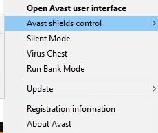 Bây giờ, hãy chọn tùy chọn kiểm soát lá chắn Avast và bạn có thể tạm thời vô hiệu hóa Avast