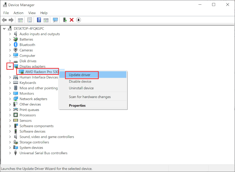 Nhấp chuột phải vào trình điều khiển đồ họa.  Sau đó, chọn Cập nhật trình điều khiển