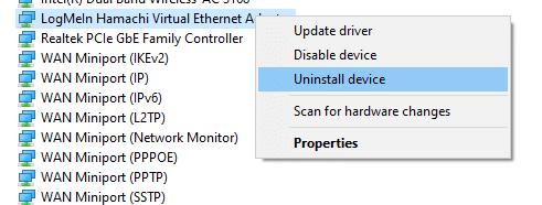 Bây giờ, nhấp vào Gỡ cài đặt thiết bị.  cách khắc phục Lỗi Hamachi Tunnel trên Windows 10
