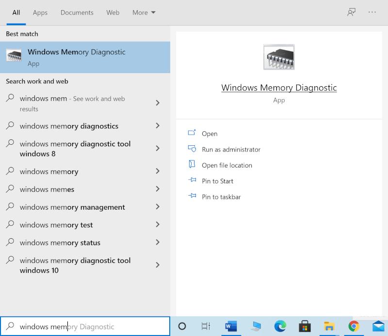 Nhập Chẩn đoán bộ nhớ Windows vào tìm kiếm Windows và khởi chạy nó từ kết quả tìm kiếm