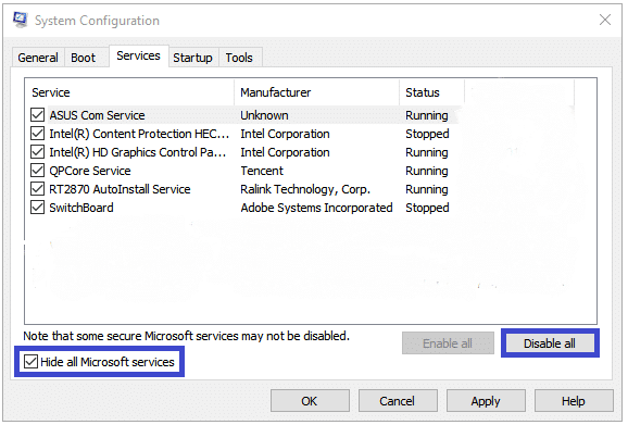 Chuyển sang tab Dịch vụ, chọn Ẩn tất cả các dịch vụ của Microsoft và nhấp vào nút Tắt tất cả