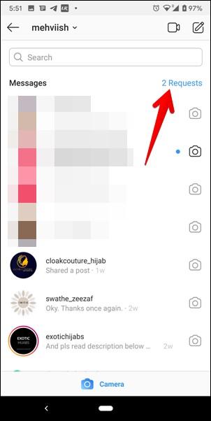 thư mục yêu cầu tin nhắn instagram