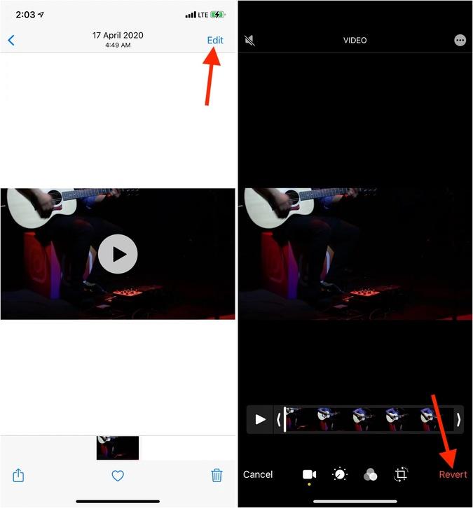 Hoàn nguyên về âm thanh video gốc trên iPhone