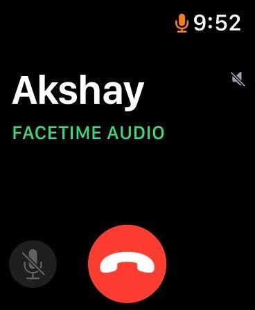 Giao diện người dùng cuộc gọi âm thanh FaceTime trên Apple Watch