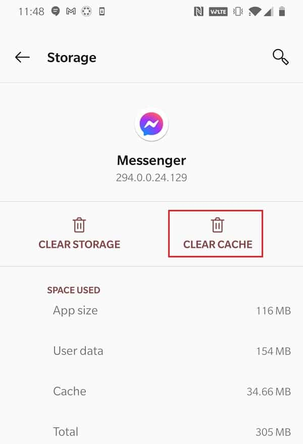Nhấn vào Xóa bộ nhớ cache để xóa dữ liệu bộ nhớ đệm liên quan đến Messenger