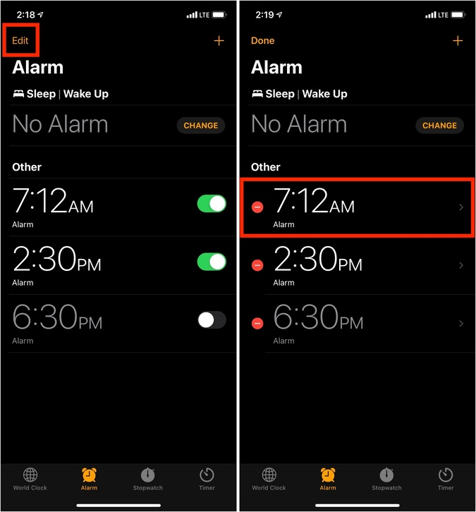 Nhấn vào Chỉnh sửa và nhấn vào báo thức trong ứng dụng Đồng hồ trên iPhone
